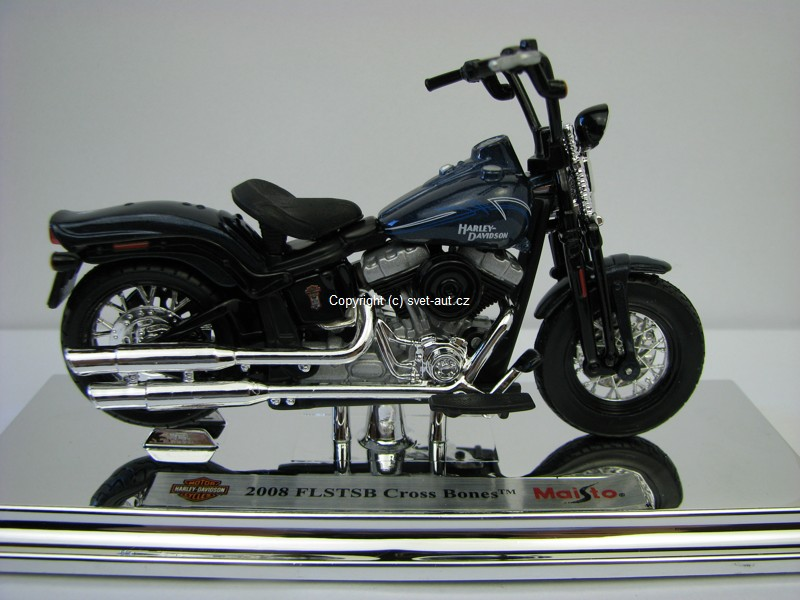 Harley-Davidson 2008 FLSTSB Cross Bones blue 1:18 Maisto