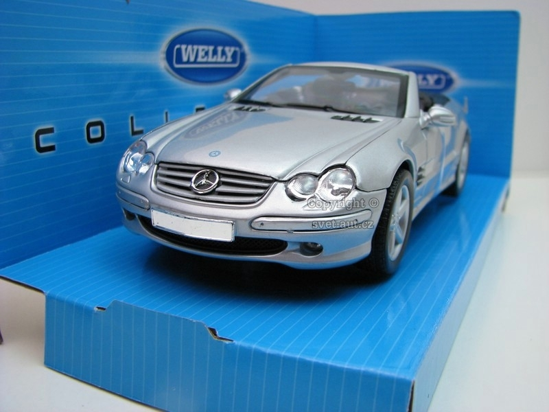 Mercedes-Benz SL500 soft top silver 1:24 Welly
