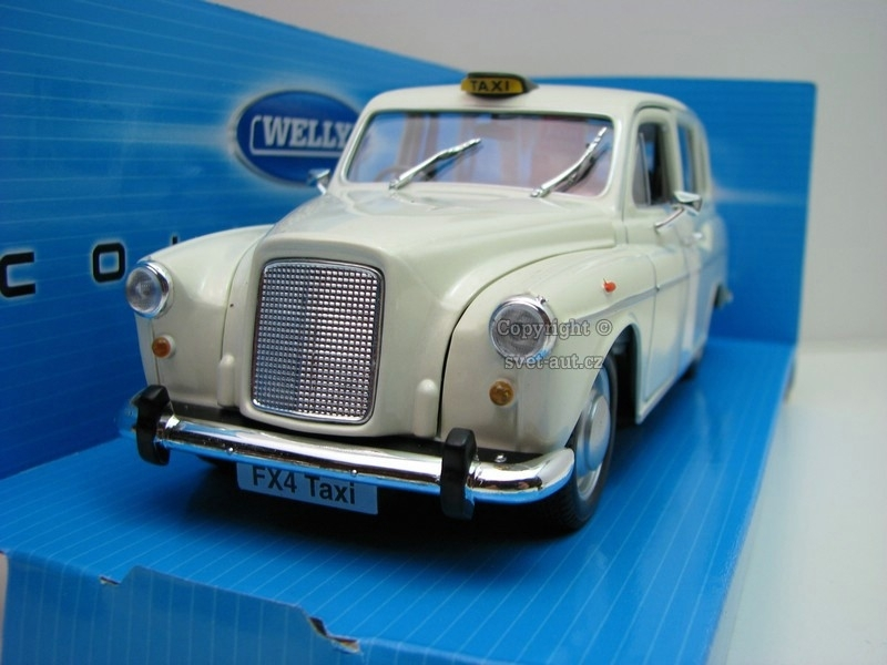 Austin FX4 London Taxi white pearl met 1:24 Welly