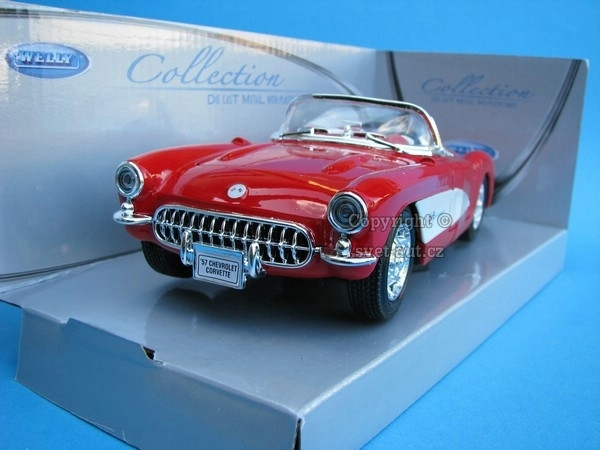 Chevrolet Corvette 1957 red 1:24 Welly