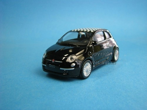 Fiat 500 Nuova black šach 1:43 Welly
