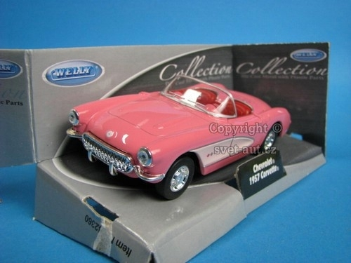 Chevrolet Corvette 1957 Cabrio open pink 1:32 - 36 Welly