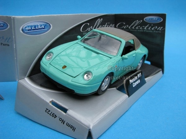 Porsche 911 Carrera Soft Top Green 1:32-36 Welly