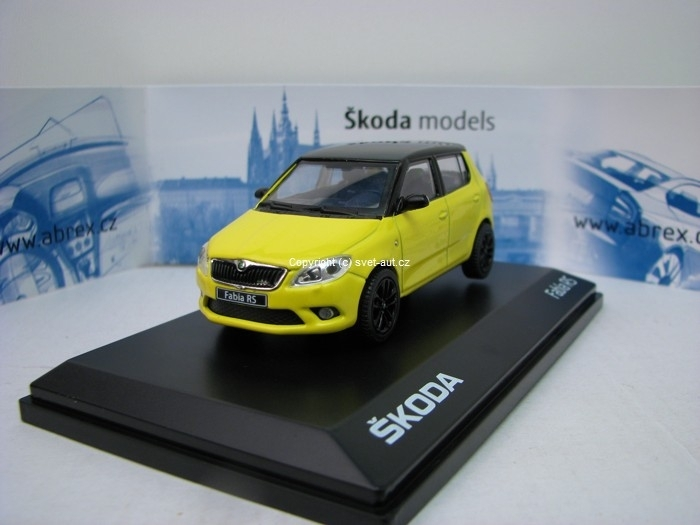 Škoda Fabia II Facelift RS Sprint Yellow Black 1:43 Abrex