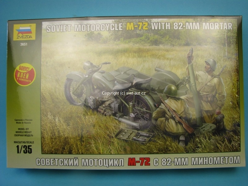 Soviet Motorcykle M-72 With 82-mm Mortar s figurkami 1:35 Zvezda