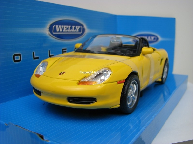 Porsche Boxster Cabrio open yellow 1:24 Welly