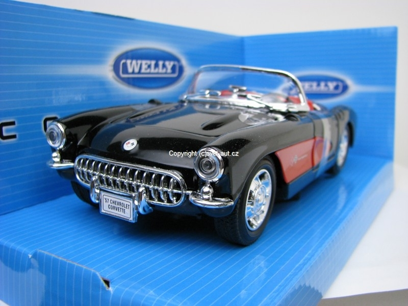 Chevrolet Corvette 1957 black 1:24 Welly