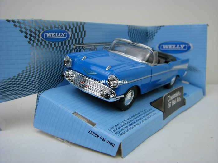 Chevrolet Bel Air 1957 Cabrio open blue 1:32 - 36 Welly