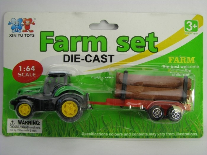 Farm set Traktor s vlekem a klády 1:64 Xin You Toys