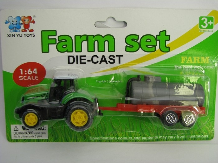 Farm set Traktor s vlekem cisterna 1:64 Xin You Toys