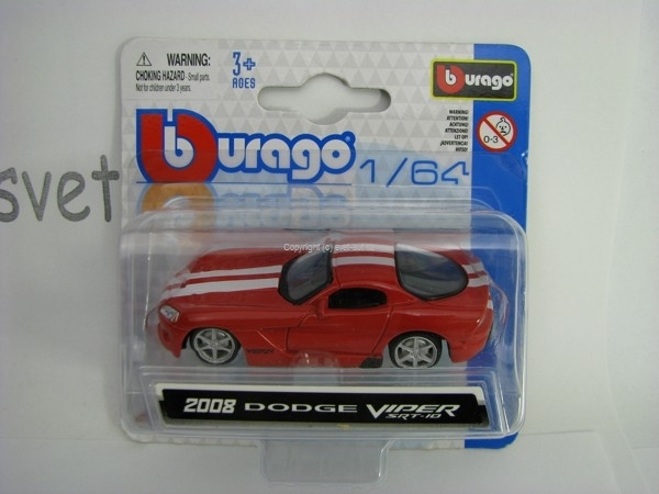 Dodge Viper SRT-10 2008 Red 1:64 Bburago