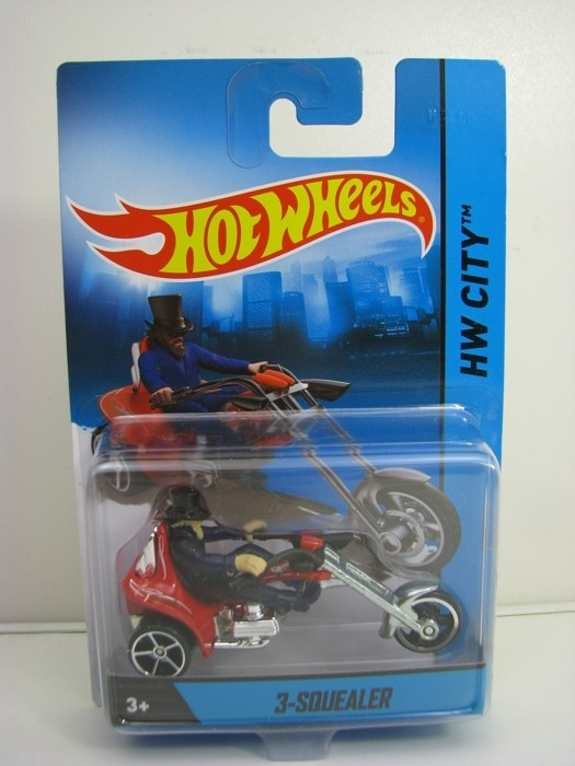 3-Squealer Hot Wheels Motorcykles w-Figures HW City