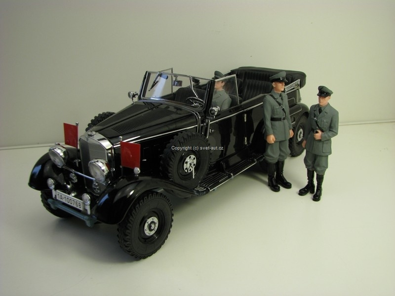 Mercedes-Benz G4 1938 Black with 3 Figures Premier Miniature 1:18 Signature Models