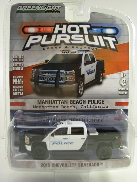Chevrolet Silverado 2015 Manhattan Beach Police Hot Pursuit 1:64 Greenlight