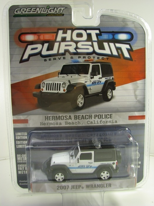 Jeep Wrangler 2007 Hermosa Beach Police Hot Pursuit 1:64 Greenlight