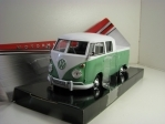 Volkswagen  Type 2 T1 Double Cab Pick Up Green White 1:24 Motor Max