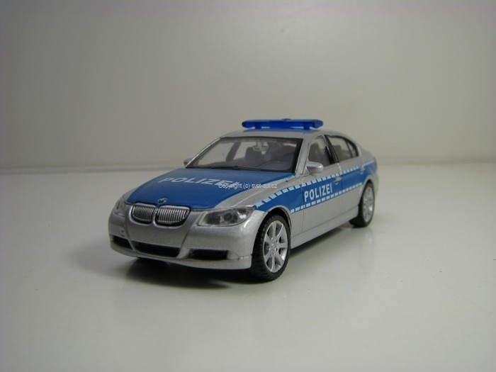 BMW 330i Polizei modrá 1:43 Welly