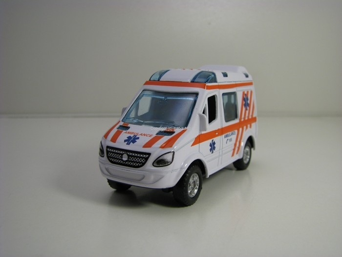 Mercedes- Benz Sprinter bílá Ambulance Pull Back Teddies