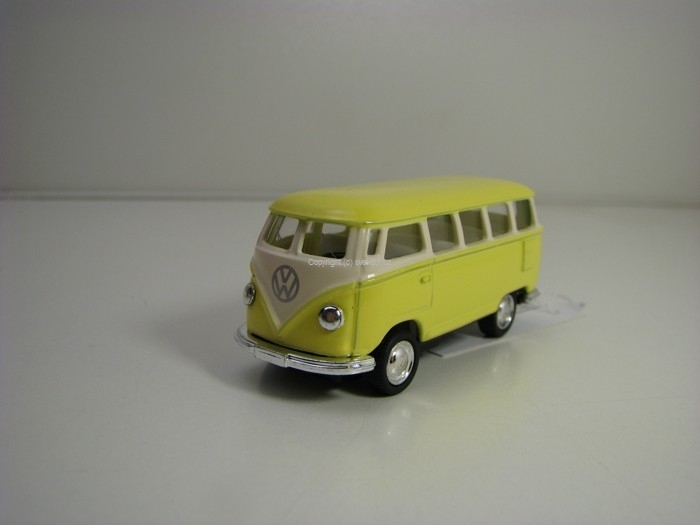 Volkswagen Classical Bus 1962 Yellow Pull Back 1:64 Kinsmart