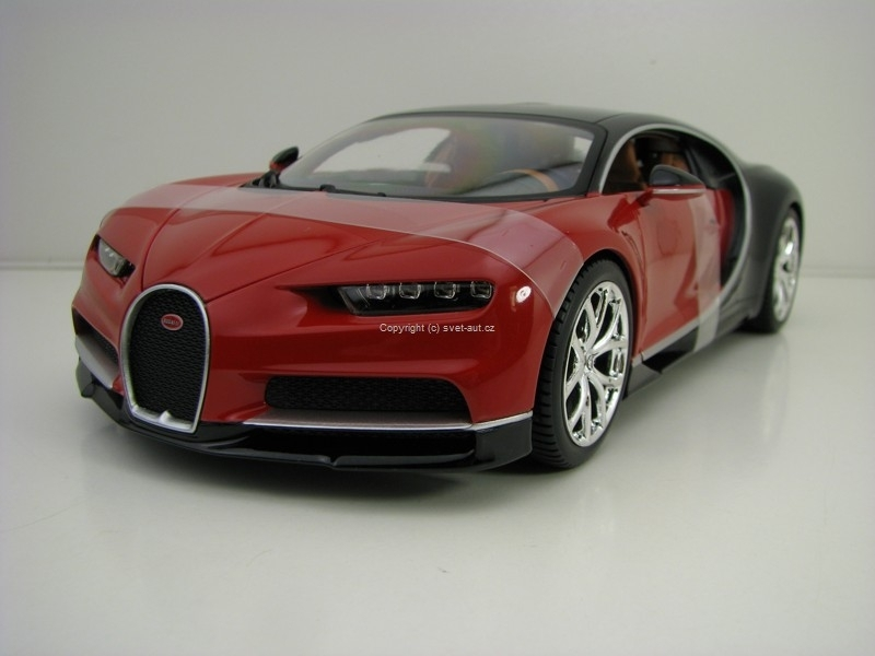 Bugatti Chiron Red Black 1:18 Bburago