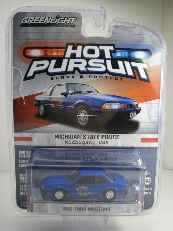 Ford Mustang 1992 Michigan State Police Hot Pursuit 1:64 Greenlight