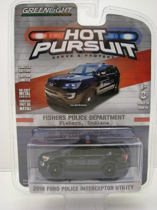 Ford Police Interceptor Utility 2016 Fishers India Hot Pursuit 1:64 Greenlight