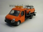 Přepravník aut a Mini Cooper S Orange 1:43 Bburago