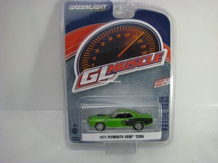 Plymouth Hemi Cuda 1971 Green 1:64 Greenlight GL Muscle Serie 18