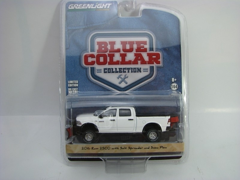 Dodge Ram 2500 With Salt spreader and Snow plow 1:64 Blue Collar Greenlight