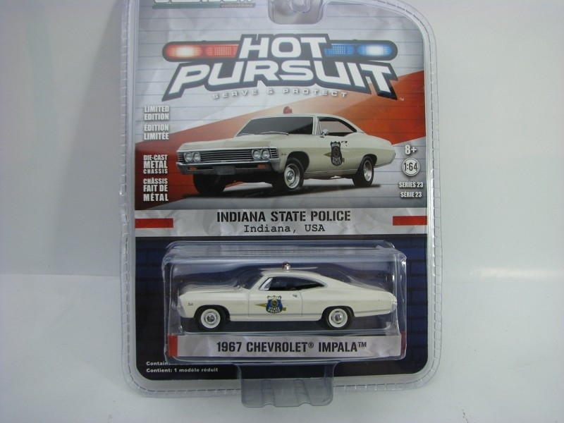 Chevrolet Impala 1967 Indiana Police 1:64 Hot Pursuit série 23 Greenlight