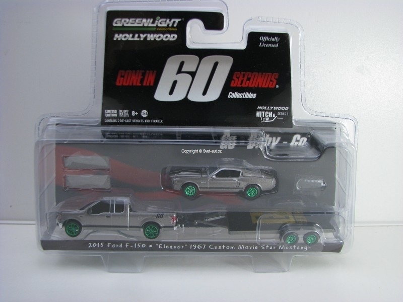 Ford F-150, Mustang Eleanor s přívěsem Gone In 60 Seconds Hitch & Tow 1:64 Greenlight