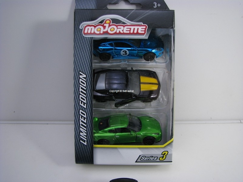 Nissan, Jaguar, Chevrolet Limited edition set 3 modely Majorette