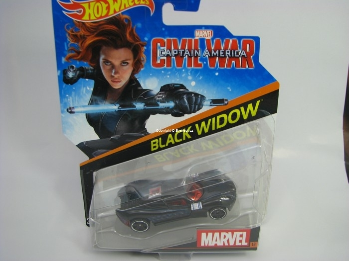 kultovní angličák autíčko Captain Amerika Black WidoW Hot Wheels Marvel