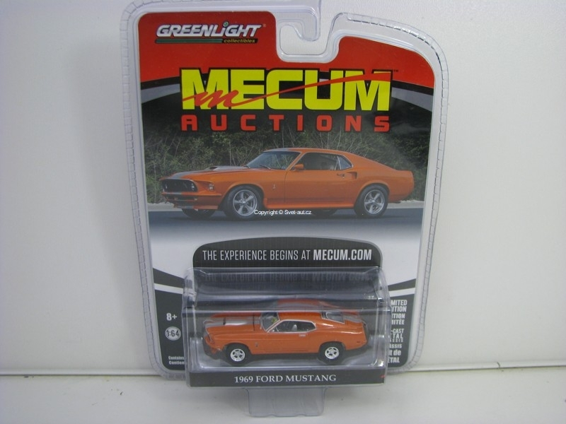 Ford Mustang 1969 Orange 1:64 Greenlight Mecum Auctions