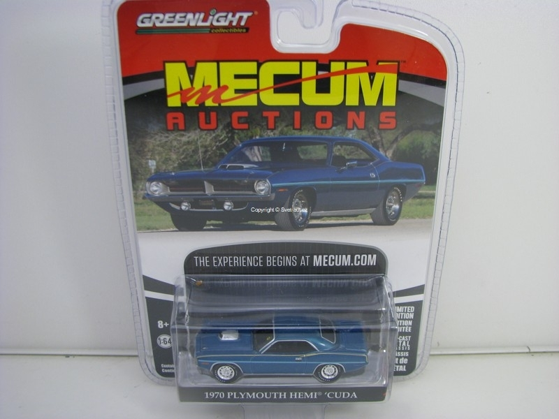 Plymouth Hemi Cuda 1970 Blue 1:64 Greenlight Mecum Auctions