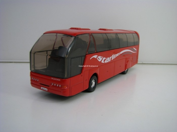 Autobus Neoplan Starliner červený Pull Back 1:64 Welly