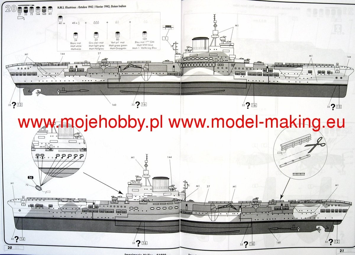 HMS Illustrious British Aircraft Carrier stavebnice 1:400 Heller
