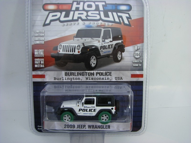 Jeep Wrangler 2009 Burlington Police zelená pneu 1:64 Hot Pursuit Greenlight série 23