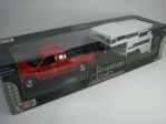 Ford F-150 XLT Flareside Supercab 2001 Red with Camper 1:24 Motor Max
