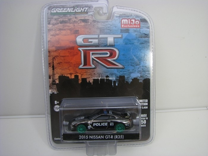 Nissan GT-R R35 Police 2015 zelená kola Mijo Exclusives 1:64 Greenlight