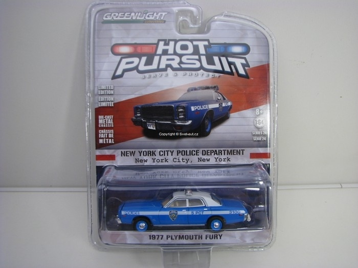 Plymouth Fury 1977 NY Police Department 1:64 Hot Pursuit série 24 Greenlight