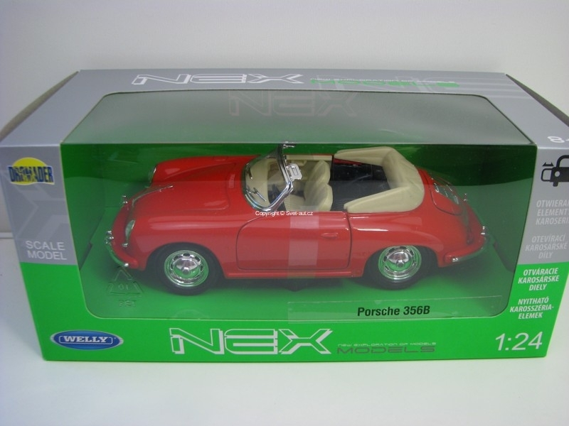 Porsche 356B Cabrio Red 1:24 Welly