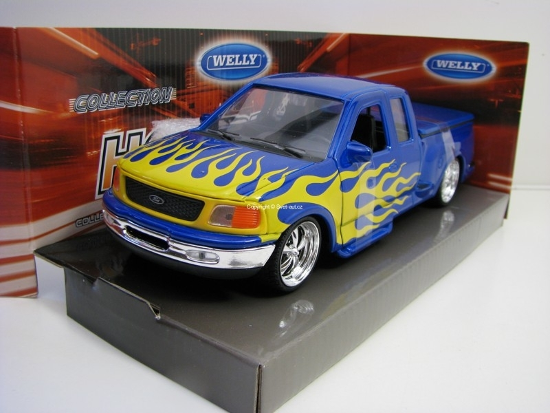 Ford F-150 Flareside Supercab Pick Up 1999 Blue s plameny 1:24 Welly