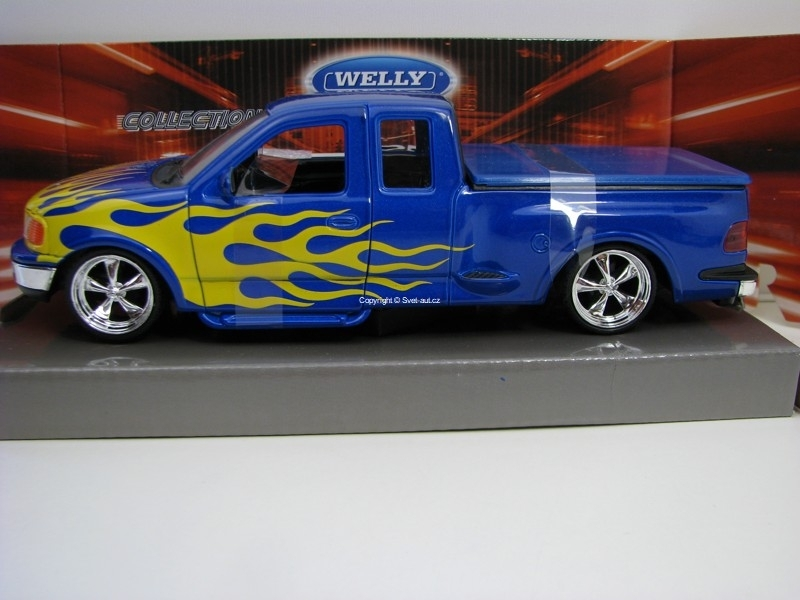 Ford F-150 Flareside Supercab Pick Up 1999 Blue s plameny 1:24 W