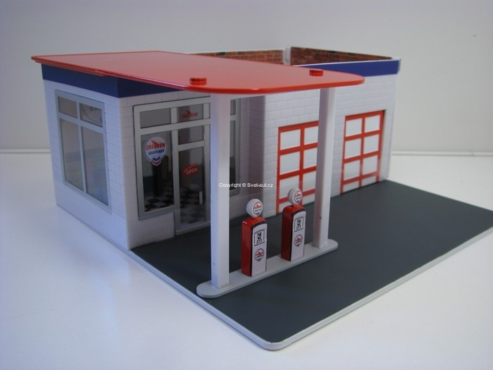 Čerpací Stanice Servis Gas Station Chevron Diorama 1:64 Greenlight