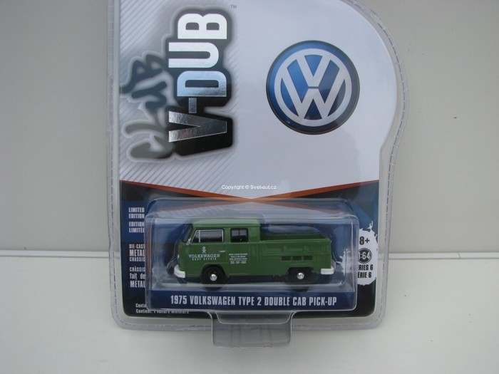 Volkswagen Type 2 Double Cab Pick-Up 1975 1:64 Club V-Dub série 6 Greenlight