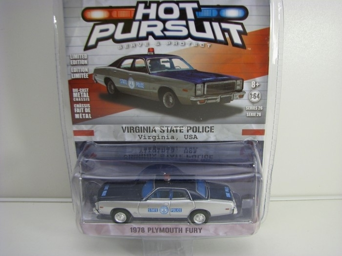 Plymouth Fury 1978 Virginia State Police 1:64 Hot Pursuit série 26 Greenlight