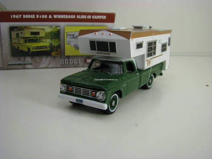 Dodge D 100 1967 & Winnebago Slide-in Camper 1:64 Greenlight Hobby Exlusive