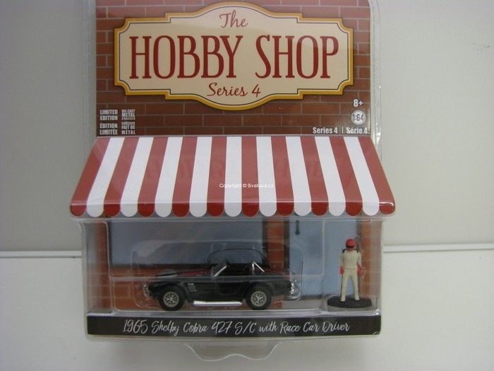 Shelby Cobra 427 S/C + figurka 1:64 Hobby Shop série 4 Greenlight