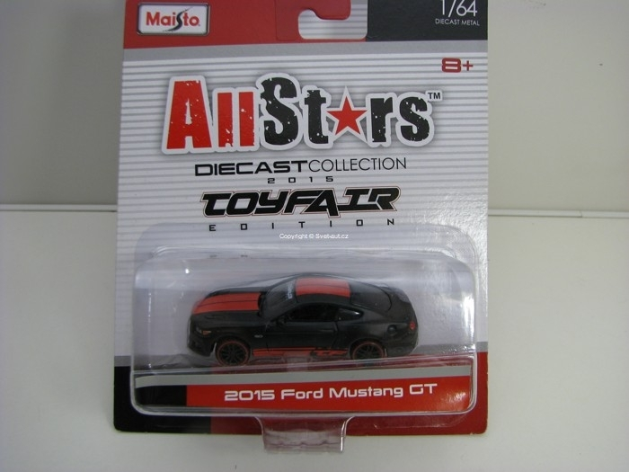 Ford Mustang GT 2015 Toy Fair Matto Black 1:64 All Stars Maisto